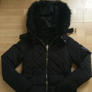 Zara down coat with faux fur hood